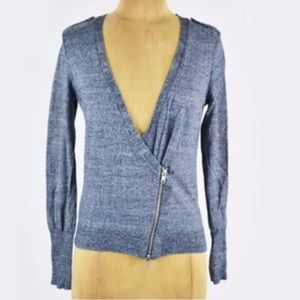 J.CREW Moto Zipper Cardigan Sweater blue wool